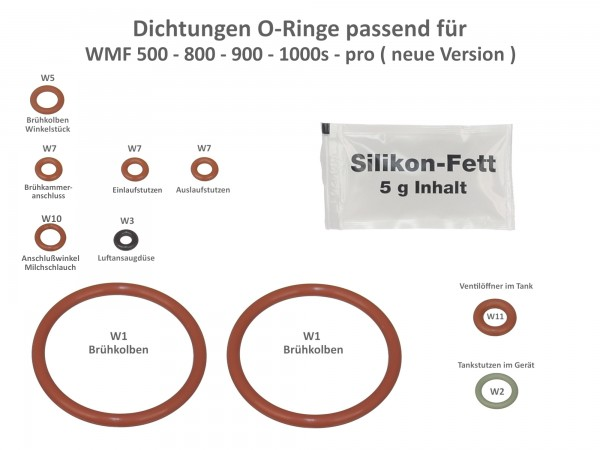 wartungsset o ringe dichtungen passend f r wmf 500 800 900. Black Bedroom Furniture Sets. Home Design Ideas